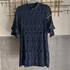 Sharagano navy lace dress with bell sleeves